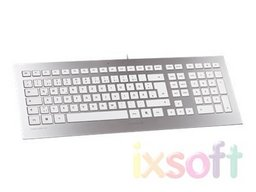 Ultraflaches Keyboard Cherry Strait White Silver USB, silber-weiß, Deutsch