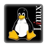 Tux + Linux schwarz - PC-Sticker (Case Badge)