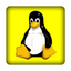 Tux gelb 25x25 mm - PC - Sticker (Case Badge)